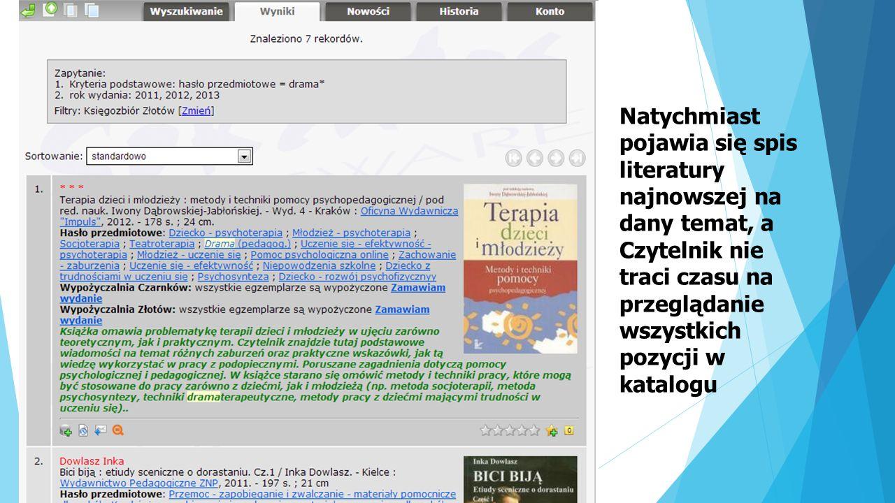 Natychmiast pojawia się spis literatury najnowszej na dany temat, a Czytelnik nie traci czasu na przeglądanie wszystkich pozycji w katalogu