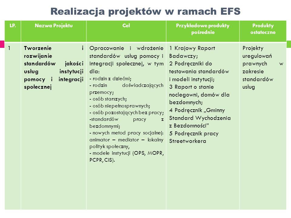 Realizacja projektów w ramach EFS LP.Nazwa ProjektuCelPrzykładowe produkty pośrednie Produkty ostateczne 1Tworzenie i rozwijanie standardów jakości us