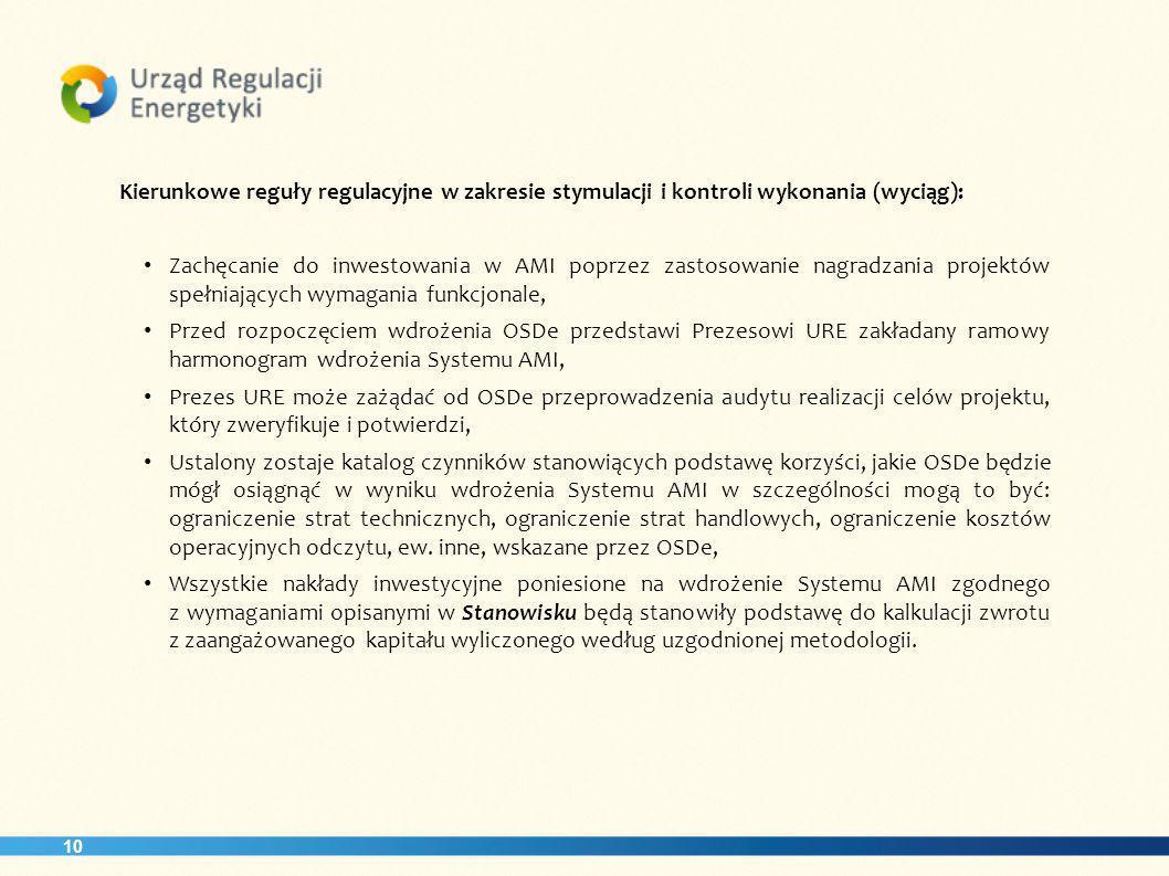 10 Kierunkowe reguły regulacyjne w zakresie stymulacji i kontroli wykonania (wyciąg): Zachęcanie do inwestowania w AMI poprzez zastosowanie nagradzani