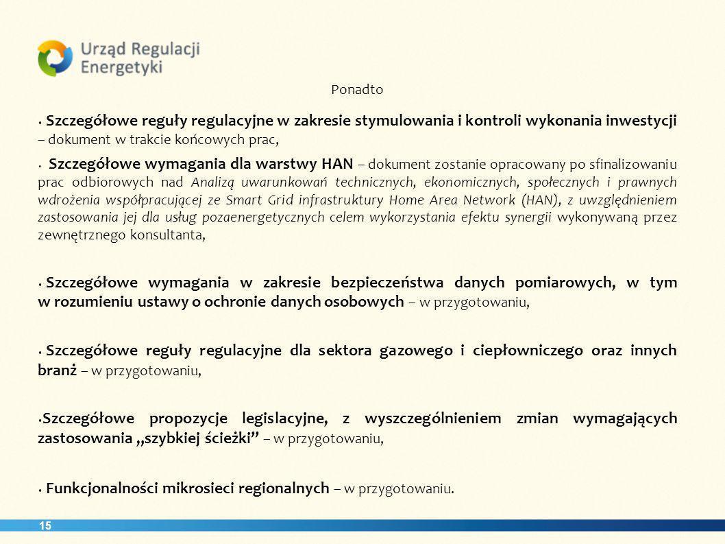 15 Ponadto Szczegółowe reguły regulacyjne w zakresie stymulowania i kontroli wykonania inwestycji – dokument w trakcie końcowych prac, Szczegółowe wym