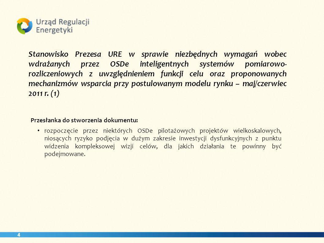 4 Stanowisko Prezesa URE w sprawie niezbędnych wymagań wobec wdrażanych przez OSDe inteligentnych systemów pomiarowo- rozliczeniowych z uwzględnieniem funkcji celu oraz proponowanych mechanizmów wsparcia przy postulowanym modelu rynku – maj/czerwiec 2011 r.