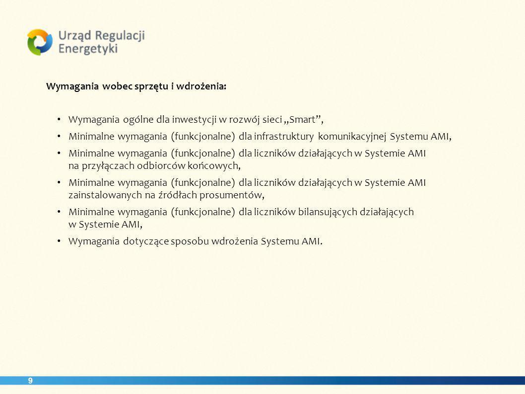 9 Wymagania wobec sprzętu i wdrożenia: Wymagania ogólne dla inwestycji w rozwój sieci Smart, Minimalne wymagania (funkcjonalne) dla infrastruktury komunikacyjnej Systemu AMI, Minimalne wymagania (funkcjonalne) dla liczników działających w Systemie AMI na przyłączach odbiorców końcowych, Minimalne wymagania (funkcjonalne) dla liczników działających w Systemie AMI zainstalowanych na źródłach prosumentów, Minimalne wymagania (funkcjonalne) dla liczników bilansujących działających w Systemie AMI, Wymagania dotyczące sposobu wdrożenia Systemu AMI.