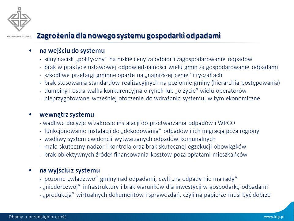 Zagrożenia dla nowego systemu gospodarki odpadami na wejściu do systemu - silny nacisk polityczny na niskie ceny za odbiór i zagospodarowanie odpadów