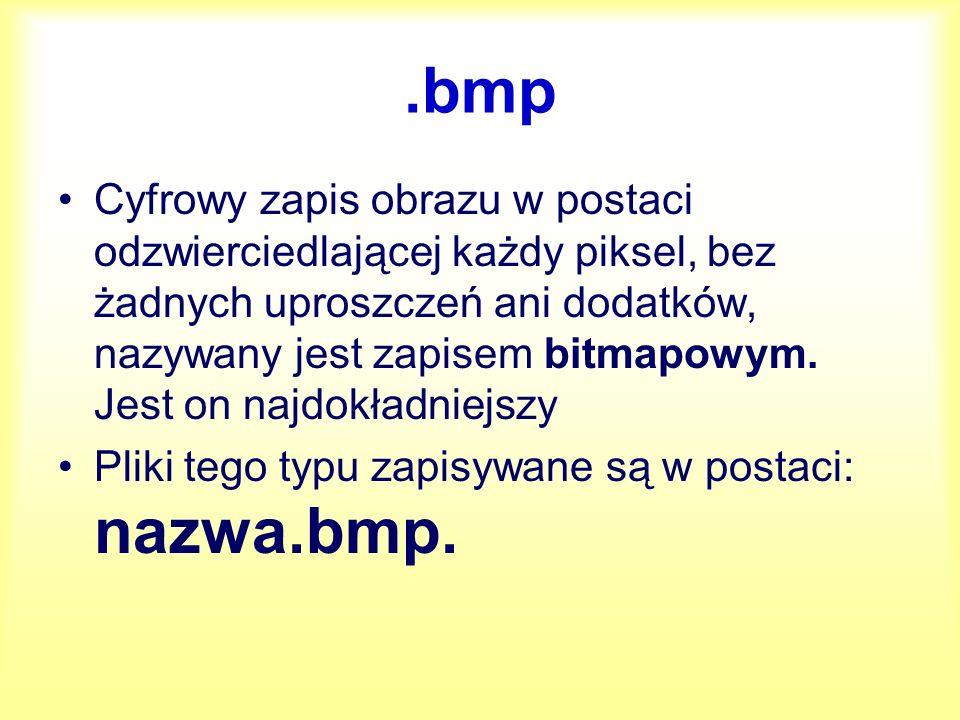 .bmp Cyfrowy zapis obrazu w postaci odzwierciedlającej każdy piksel, bez żadnych uproszczeń ani dodatków, nazywany jest zapisem bitmapowym. Jest on na