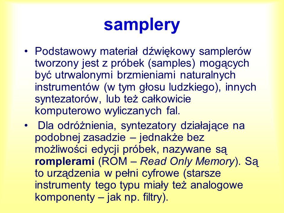 samplery Podstawowy materiał dźwiękowy samplerów tworzony jest z próbek (samples) mogących być utrwalonymi brzmieniami naturalnych instrumentów (w tym