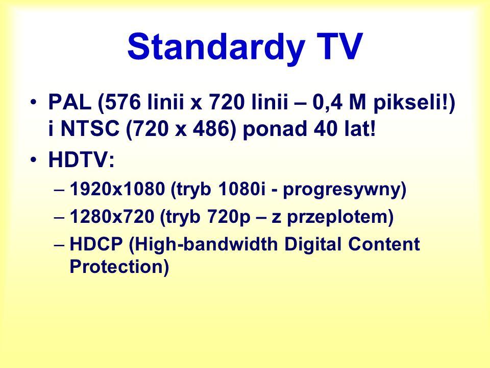 IPTV Sygnał przesyłany w postaci plików MPEG-2 lub MPEG-4 Obecnie brak HDTV w ofertach IPTV (potrzeba minimum 10 – 11 Mb/s)