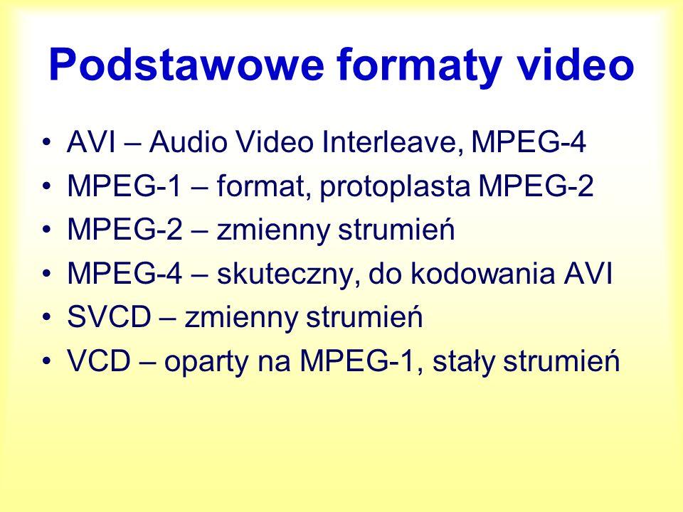 Niektóre terminy kompresji video Bitrate – wielkość strumienia danych w Kb/s VBR/CBR – zmienny (variable) lub stały (constant) bitrate I-frames – ramki bazowe/kluczowe (jedna na kilkaset) pozostałe przekazują tylko zmiany
