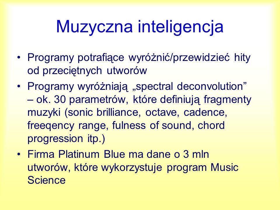 Music Science, Hit Song Science (HSS) Firmy świadczą usługi oceny materiałów, dają sugestie zmian.