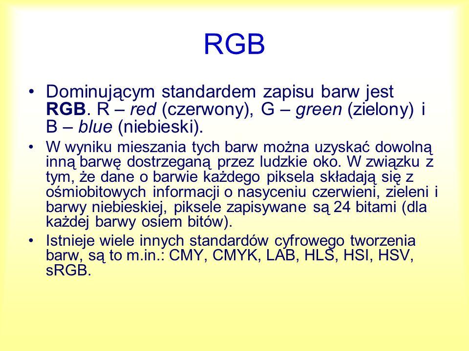 RGB Dominującym standardem zapisu barw jest RGB. R – red (czerwony), G – green (zielony) i B – blue (niebieski). W wyniku mieszania tych barw można uz