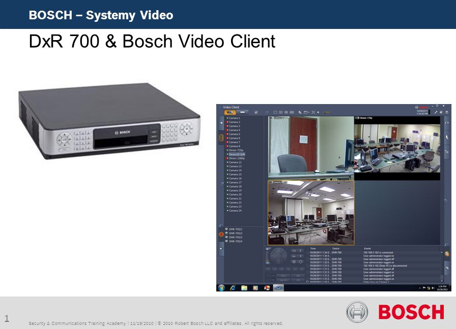 1 BOSCH – Systemy Video Security & Communications Training Academy | 11/19/2010 | © 2010 Robert Bosch LLC and affiliates. All rights reserved. DxR 700