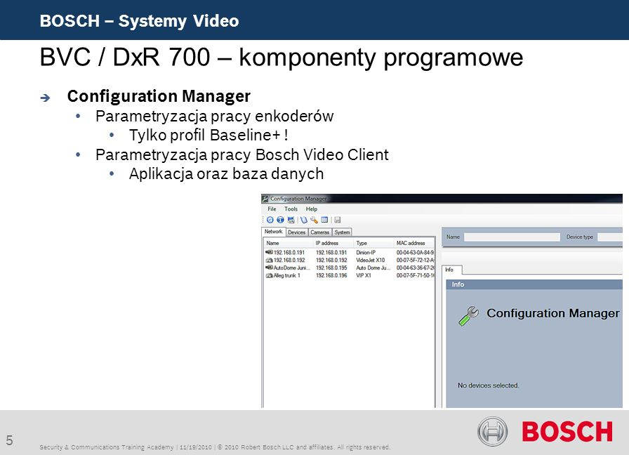 5 BOSCH – Systemy Video Security & Communications Training Academy | 11/19/2010 | © 2010 Robert Bosch LLC and affiliates. All rights reserved. BVC / D
