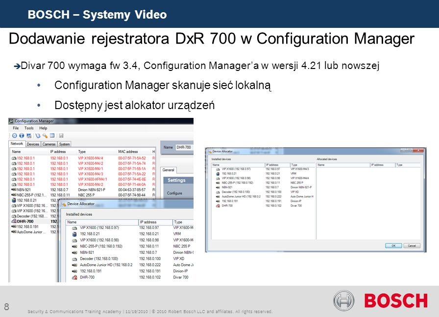 8 BOSCH – Systemy Video Security & Communications Training Academy | 11/19/2010 | © 2010 Robert Bosch LLC and affiliates. All rights reserved. Dodawan