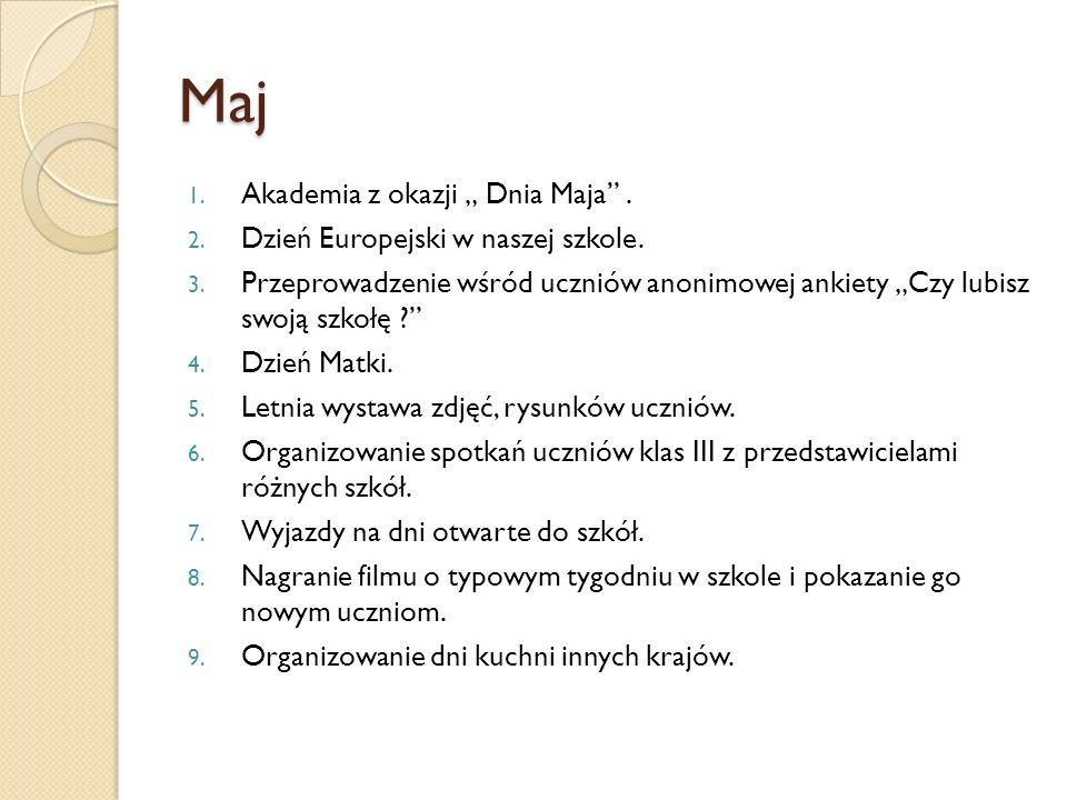 Maj 1. Akademia z okazji Dnia Maja. 2. Dzień Europejski w naszej szkole. 3. Przeprowadzenie wśród uczniów anonimowej ankiety Czy lubisz swoją szkołę ?