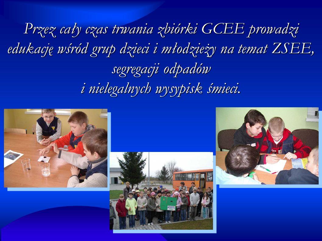 Przez cały czas trwania zbiórki GCEE prowadzi edukację wśród grup dzieci i młodzieży na temat ZSEE, segregacji odpadów i nielegalnych wysypisk śmieci.