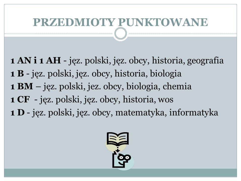 PRZEDMIOTY PUNKTOWANE 1 AN i 1 AH - jęz. polski, jęz. obcy, historia, geografia 1 B - jęz. polski, jęz. obcy, historia, biologia 1 BM – jęz. polski, j