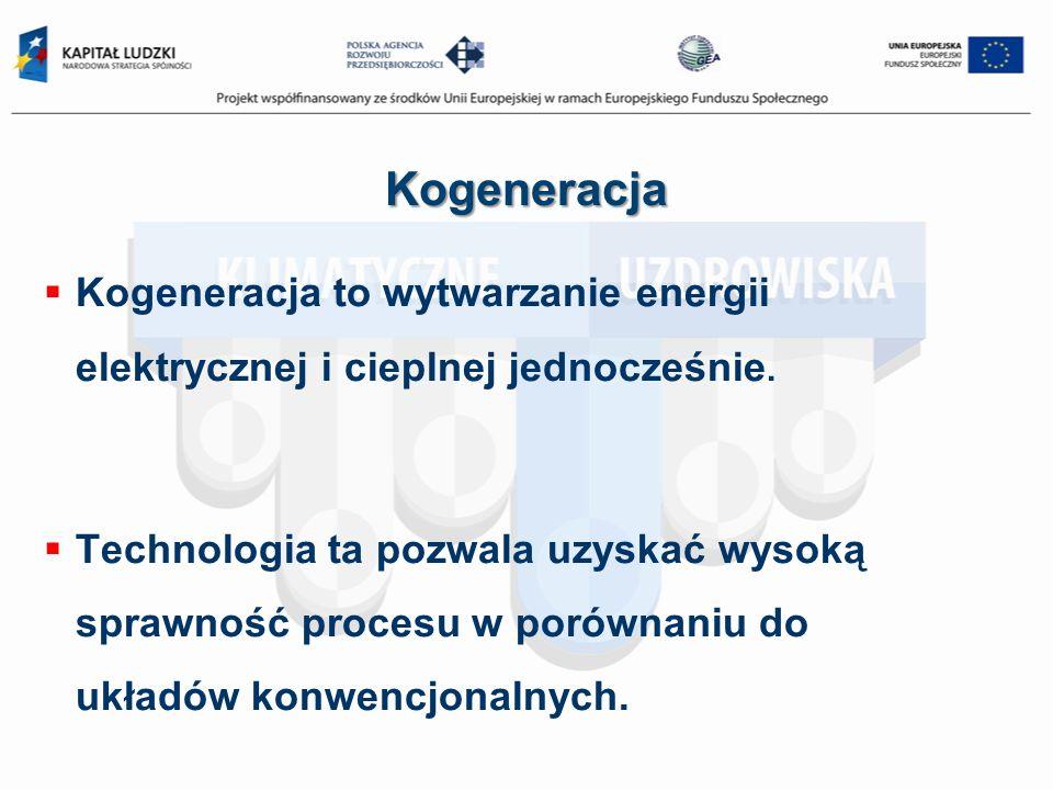 Kogeneracja Kogeneracja to wytwarzanie energii elektrycznej i cieplnej jednocześnie. Technologia ta pozwala uzyskać wysoką sprawność procesu w porówna