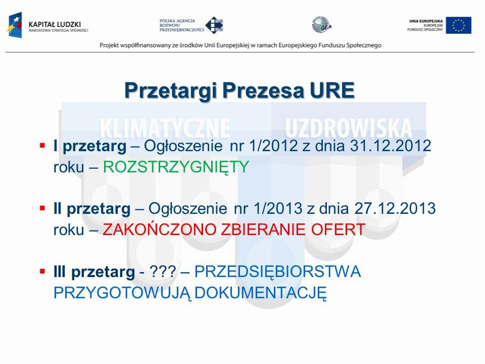 Przetargi Prezesa URE I przetarg – Ogłoszenie nr 1/2012 z dnia 31.12.2012 roku – ROZSTRZYGNIĘTY II przetarg – Ogłoszenie nr 1/2013 z dnia 27.12.2013 r