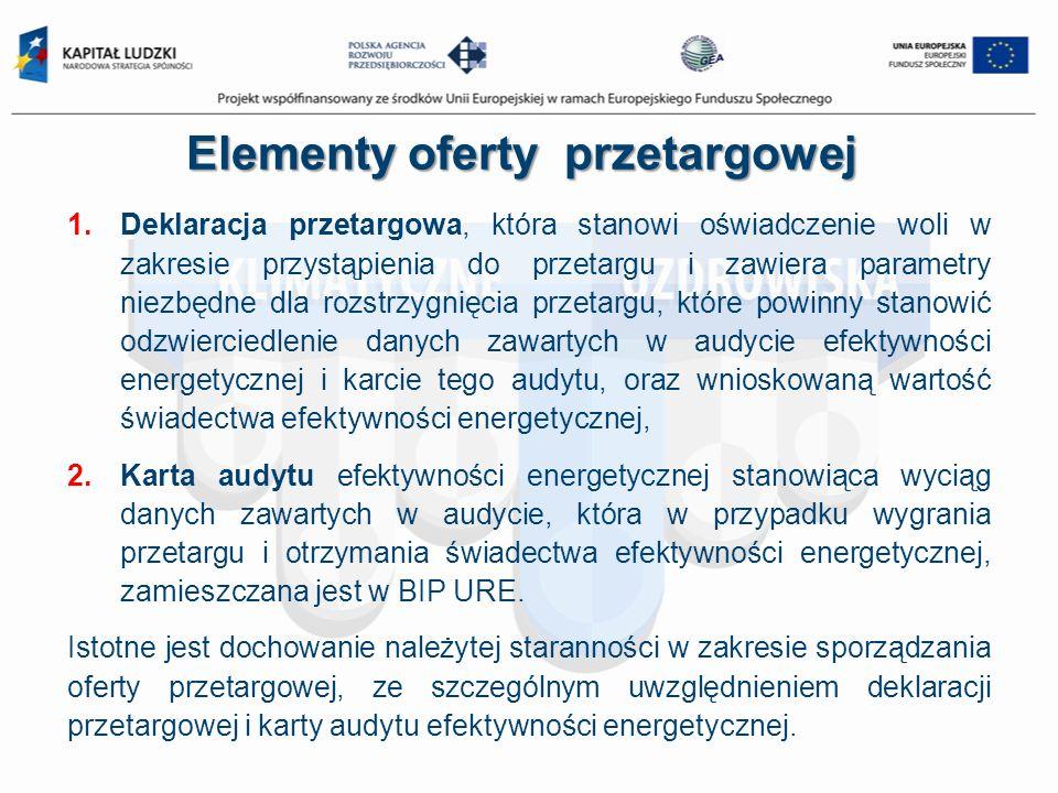 Elementy oferty przetargowej 1.Deklaracja przetargowa, która stanowi oświadczenie woli w zakresie przystąpienia do przetargu i zawiera parametry niezb