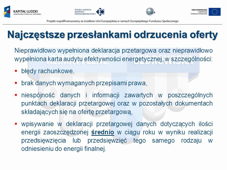 Najczęstsze przesłankami odrzucenia oferty Nieprawidłowo wypełniona deklaracja przetargowa oraz nieprawidłowo wypełniona karta audytu efektywności ene