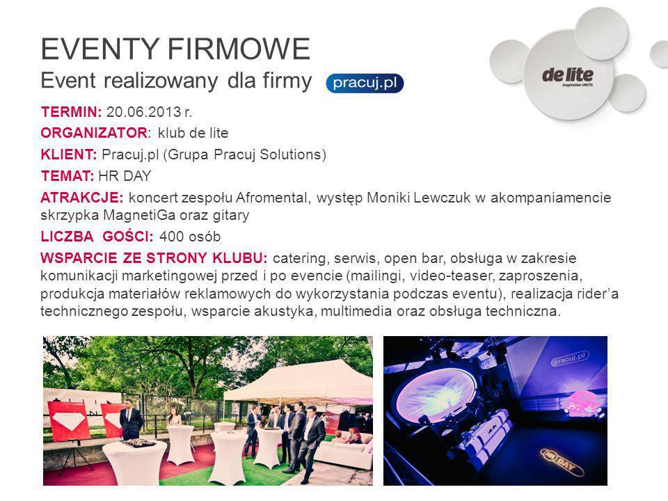 TERMIN: 20.06.2013 r. ORGANIZATOR: klub de lite KLIENT: Pracuj.pl (Grupa Pracuj Solutions) TEMAT: HR DAY ATRAKCJE: koncert zespołu Afromental, występ