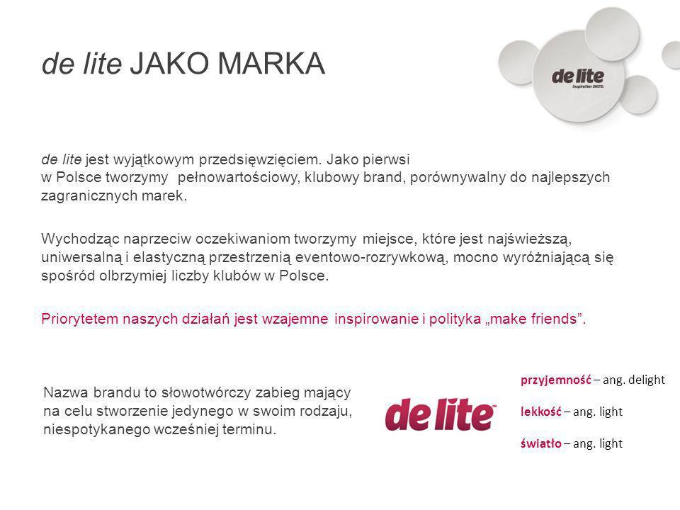 de lite JAKO MARKA de lite jest wyjątkowym przedsięwzięciem. Jako pierwsi w Polsce tworzymy pełnowartościowy, klubowy brand, porównywalny do najlepszy