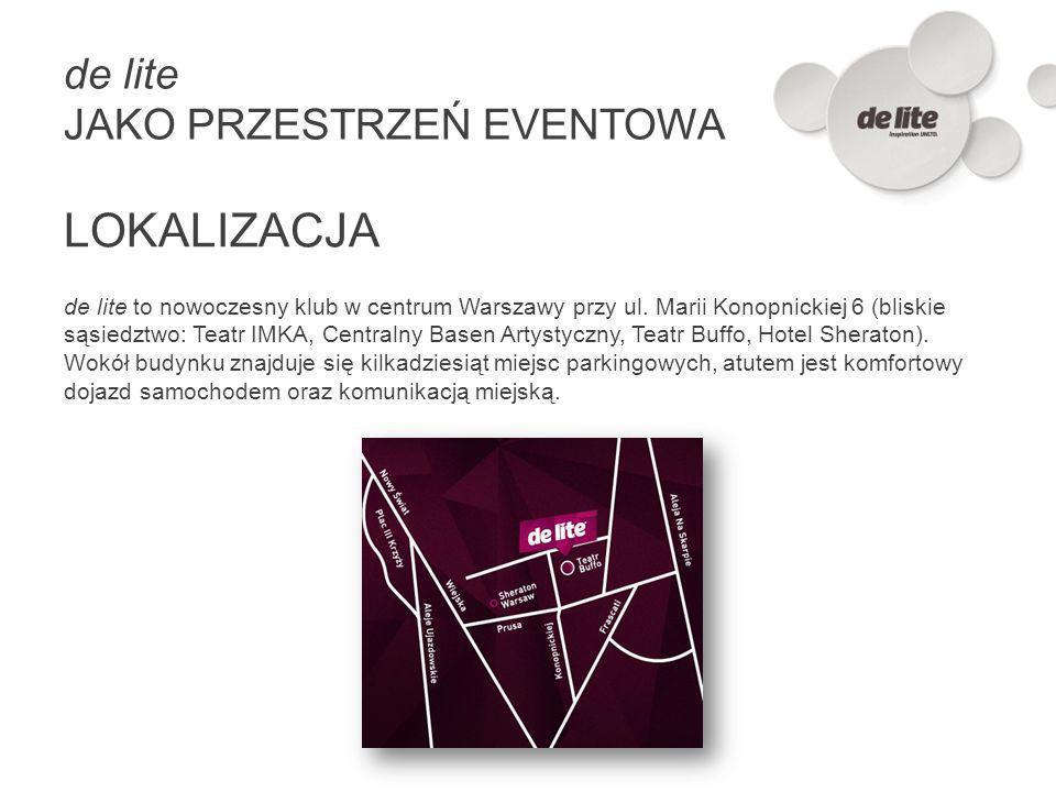 de lite to nowoczesny klub w centrum Warszawy przy ul. Marii Konopnickiej 6 (bliskie sąsiedztwo: Teatr IMKA, Centralny Basen Artystyczny, Teatr Buffo,