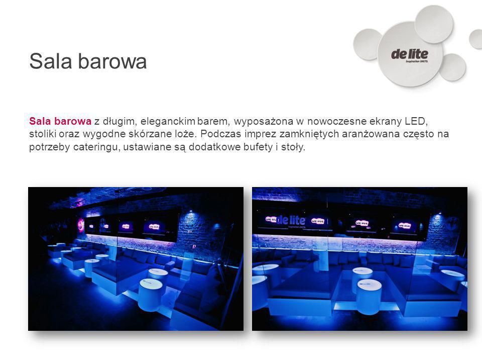 Sala barowa Sala barowa z długim, eleganckim barem, wyposażona w nowoczesne ekrany LED, stoliki oraz wygodne skórzane loże. Podczas imprez zamkniętych