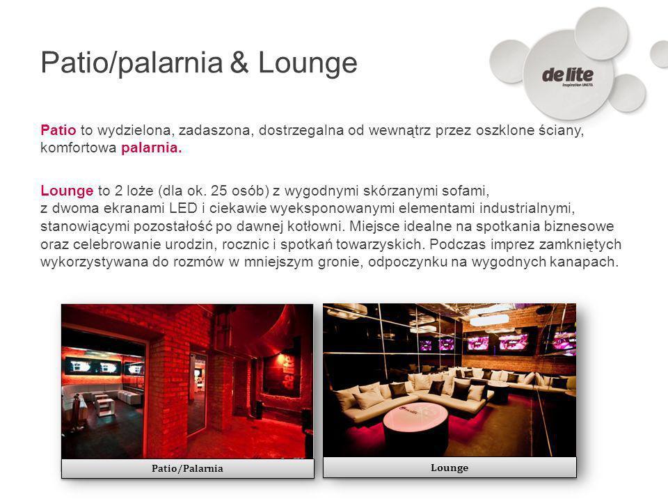 Patio/palarnia & Lounge Patio to wydzielona, zadaszona, dostrzegalna od wewnątrz przez oszklone ściany, komfortowa palarnia. Lounge to 2 loże (dla ok.