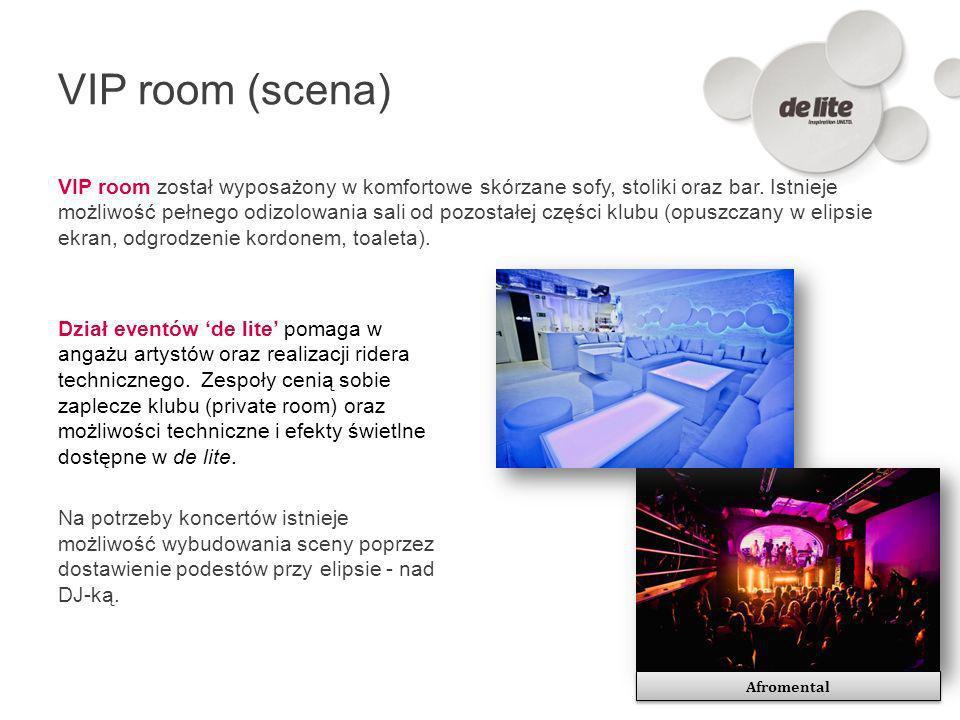 VIP room (scena) VIP room został wyposażony w komfortowe skórzane sofy, stoliki oraz bar. Istnieje możliwość pełnego odizolowania sali od pozostałej c