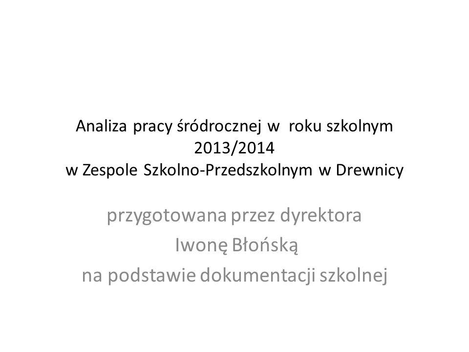 Analiza pracy śródrocznej w roku szkolnym 2013/2014 w Zespole Szkolno-Przedszkolnym w Drewnicy przygotowana przez dyrektora Iwonę Błońską na podstawie