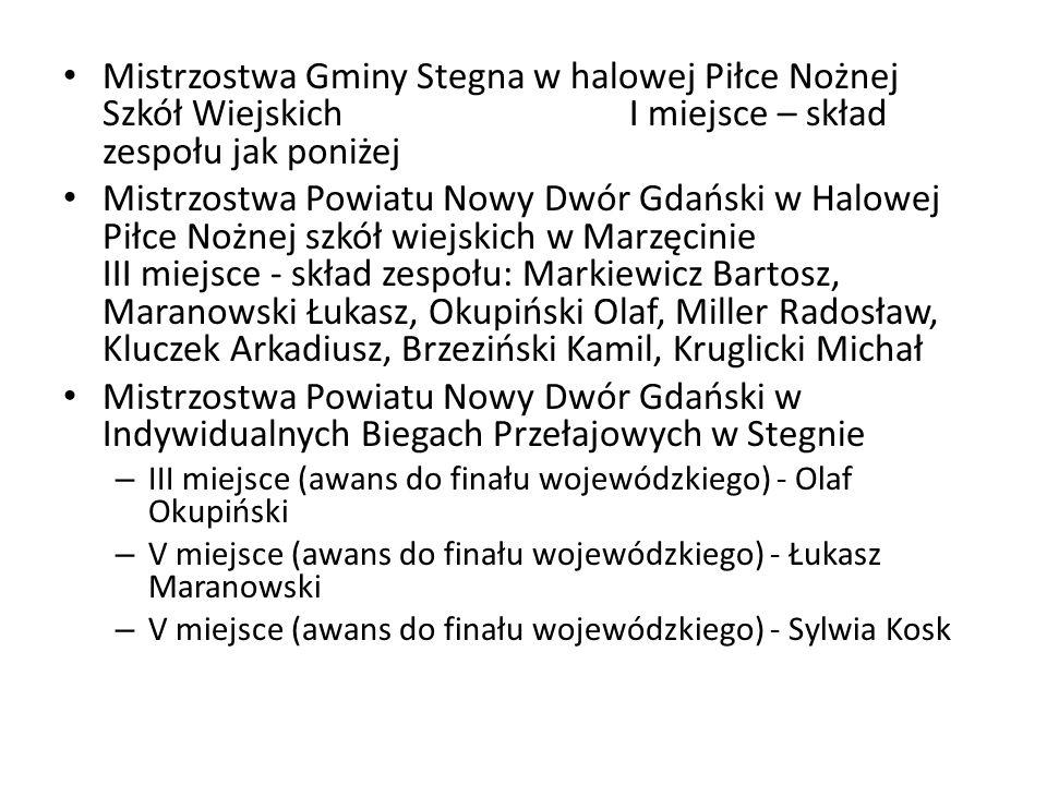 Mistrzostwa Gminy Stegna w halowej Piłce Nożnej Szkół Wiejskich I miejsce – skład zespołu jak poniżej Mistrzostwa Powiatu Nowy Dwór Gdański w Halowej