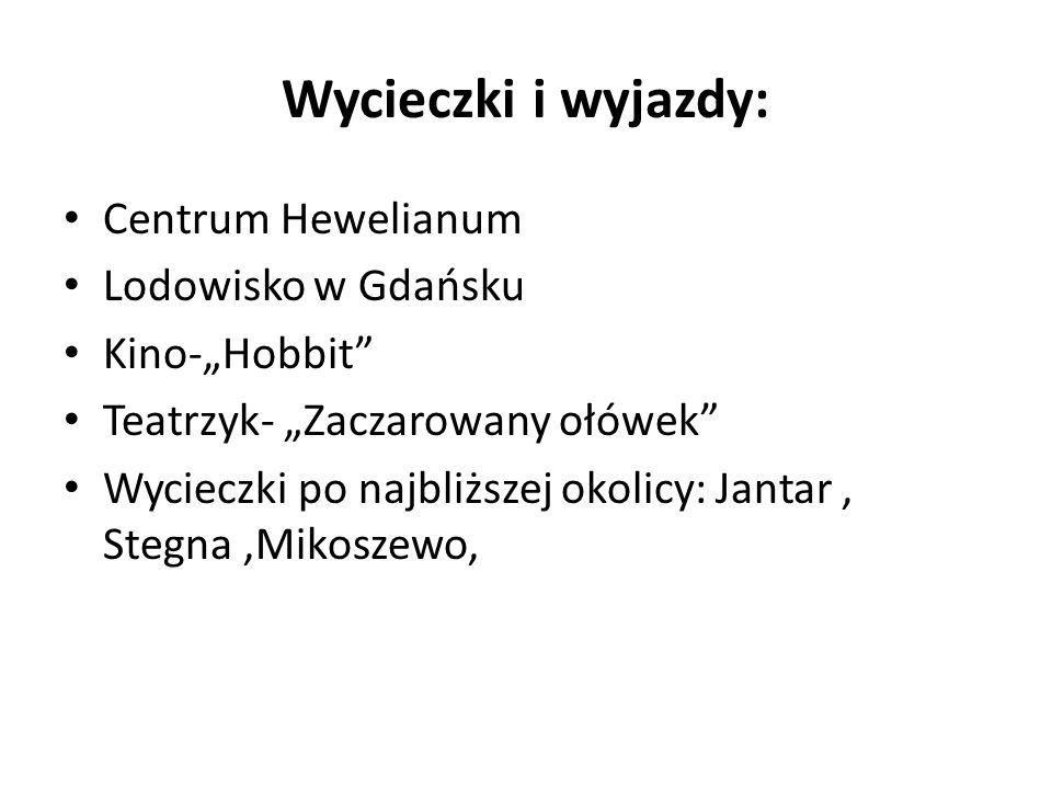 Wycieczki i wyjazdy: Centrum Hewelianum Lodowisko w Gdańsku Kino-Hobbit Teatrzyk- Zaczarowany ołówek Wycieczki po najbliższej okolicy: Jantar, Stegna,