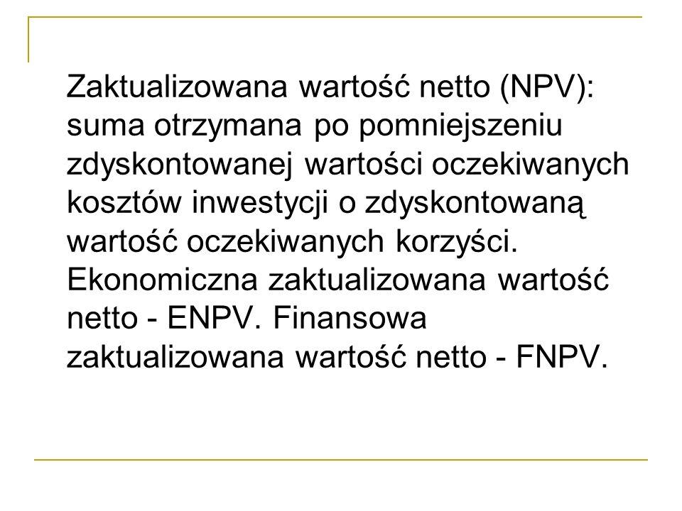Zaktualizowana wartość netto (NPV): suma otrzymana po pomniejszeniu zdyskontowanej wartości oczekiwanych kosztów inwestycji o zdyskontowaną wartość oc
