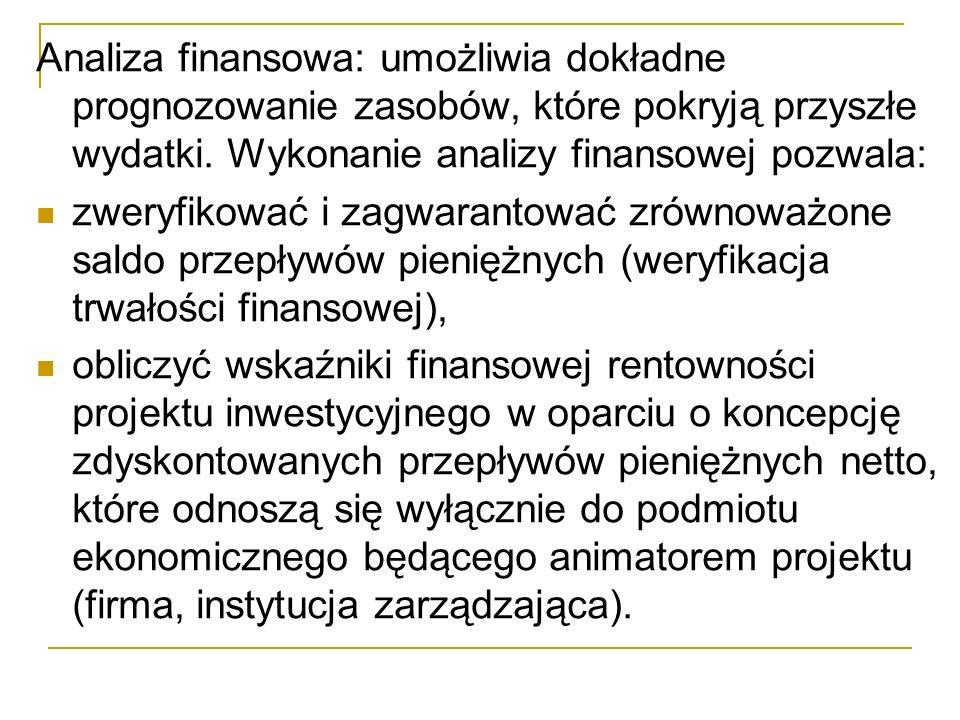 Analiza finansowa: umożliwia dokładne prognozowanie zasobów, które pokryją przyszłe wydatki. Wykonanie analizy finansowej pozwala: zweryfikować i zagw