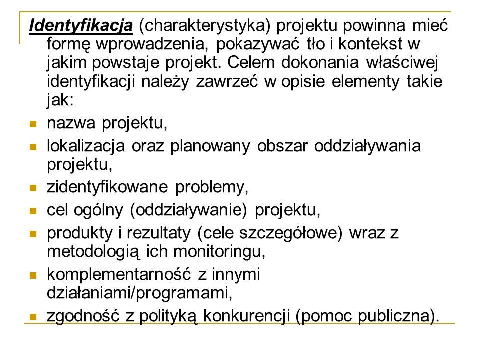 Identyfikacja (charakterystyka) projektu powinna mieć formę wprowadzenia, pokazywać tło i kontekst w jakim powstaje projekt.
