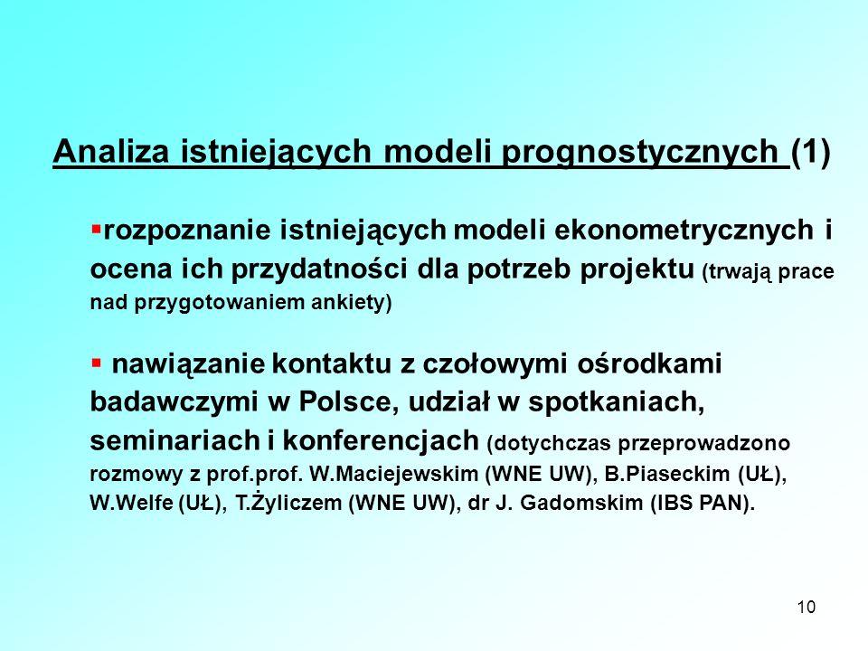 10 Analiza istniejących modeli prognostycznych (1) rozpoznanie istniejących modeli ekonometrycznych i ocena ich przydatności dla potrzeb projektu (trw