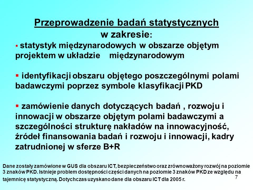 7 Przeprowadzenie badań statystycznych w zakresie : statystyk międzynarodowych w obszarze objętym projektem w układzie międzynarodowym identyfikacji o