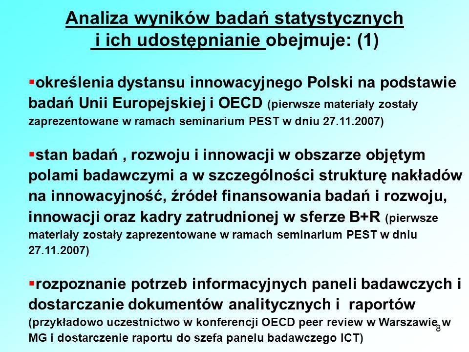 8 Analiza wyników badań statystycznych i ich udostępnianie obejmuje: (1) określenia dystansu innowacyjnego Polski na podstawie badań Unii Europejskiej