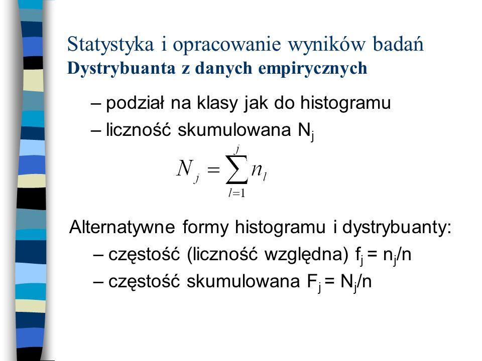 Statystyka i opracowanie wyników badań Dystrybuanta z danych empirycznych –podział na klasy jak do histogramu –liczność skumulowana N j Alternatywne formy histogramu i dystrybuanty: –częstość (liczność względna) f j = n j /n –częstość skumulowana F j = N j /n