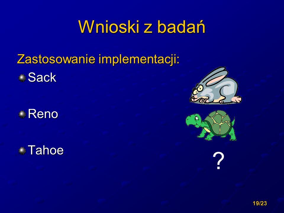 19/23 Wnioski z badań Zastosowanie implementacji: SackRenoTahoe ?