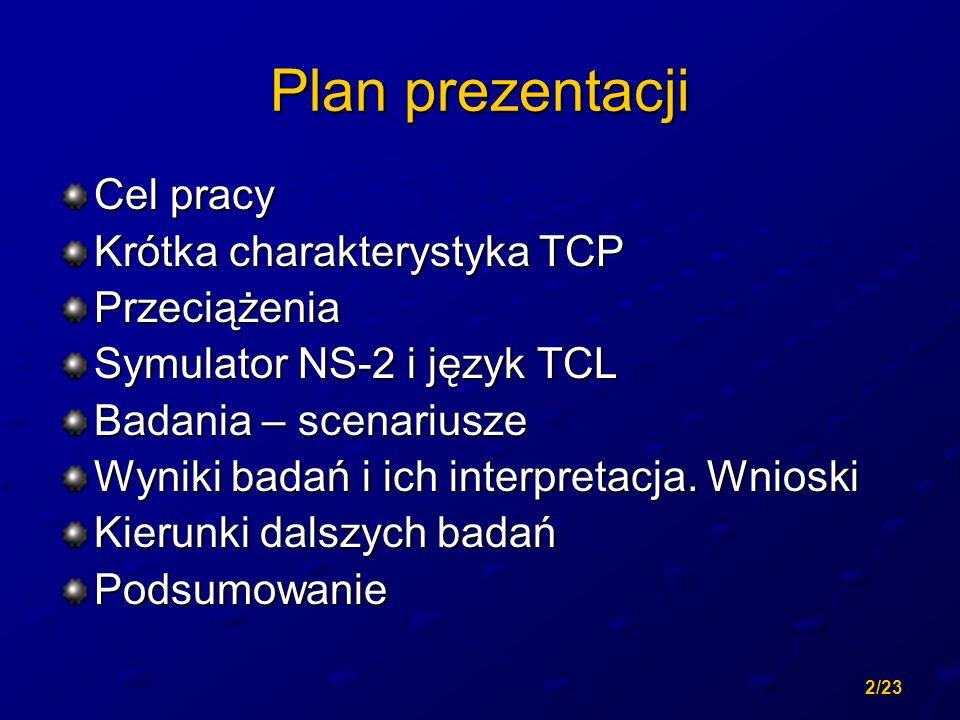2/23 Plan prezentacji Cel pracy Krótka charakterystyka TCP Przeciążenia Symulator NS-2 i język TCL Badania – scenariusze Wyniki badań i ich interpreta