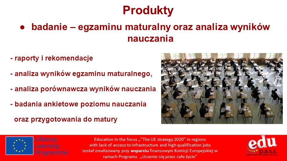 Produkty badanie – egzaminu maturalny oraz analiza wyników nauczania - raporty i rekomendacje - analiza wyników egzaminu maturalnego, - analiza porównawcza wyników nauczania - badania ankietowe poziomu nauczania oraz przygotowania do matury