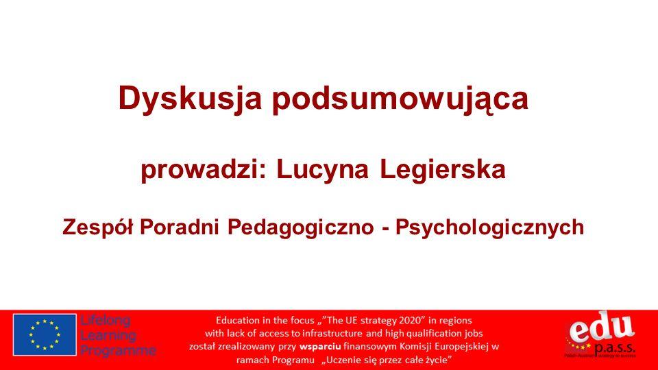 Dyskusja podsumowująca prowadzi: Lucyna Legierska Zespół Poradni Pedagogiczno - Psychologicznych