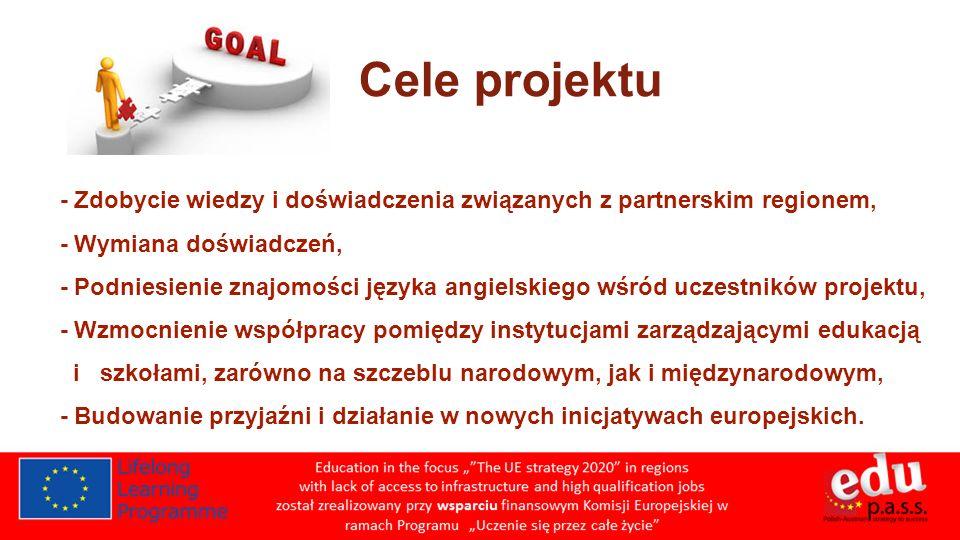 - Zdobycie wiedzy i doświadczenia związanych z partnerskim regionem, - Wymiana doświadczeń, - Podniesienie znajomości języka angielskiego wśród uczestników projektu, - Wzmocnienie współpracy pomiędzy instytucjami zarządzającymi edukacją i szkołami, zarówno na szczeblu narodowym, jak i międzynarodowym, - Budowanie przyjaźni i działanie w nowych inicjatywach europejskich.