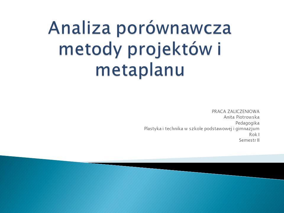 PRACA ZALICZENIOWA Anita Piotrowska Pedagogika Plastyka i technika w szkole podstawowej i gimnazjum Rok I Semestr II