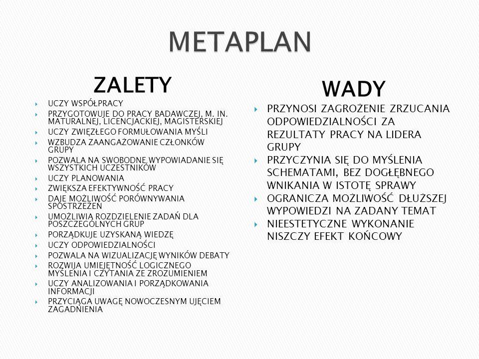 ZALETY UCZY WSPÓŁPRACY PRZYGOTOWUJE DO PRACY BADAWCZEJ, M.