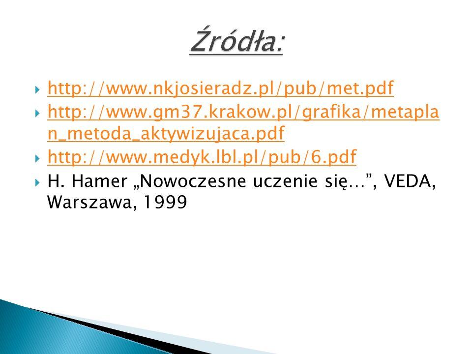 http://www.nkjosieradz.pl/pub/met.pdf http://www.gm37.krakow.pl/grafika/metapla n_metoda_aktywizujaca.pdf http://www.gm37.krakow.pl/grafika/metapla n_metoda_aktywizujaca.pdf http://www.medyk.lbl.pl/pub/6.pdf H.