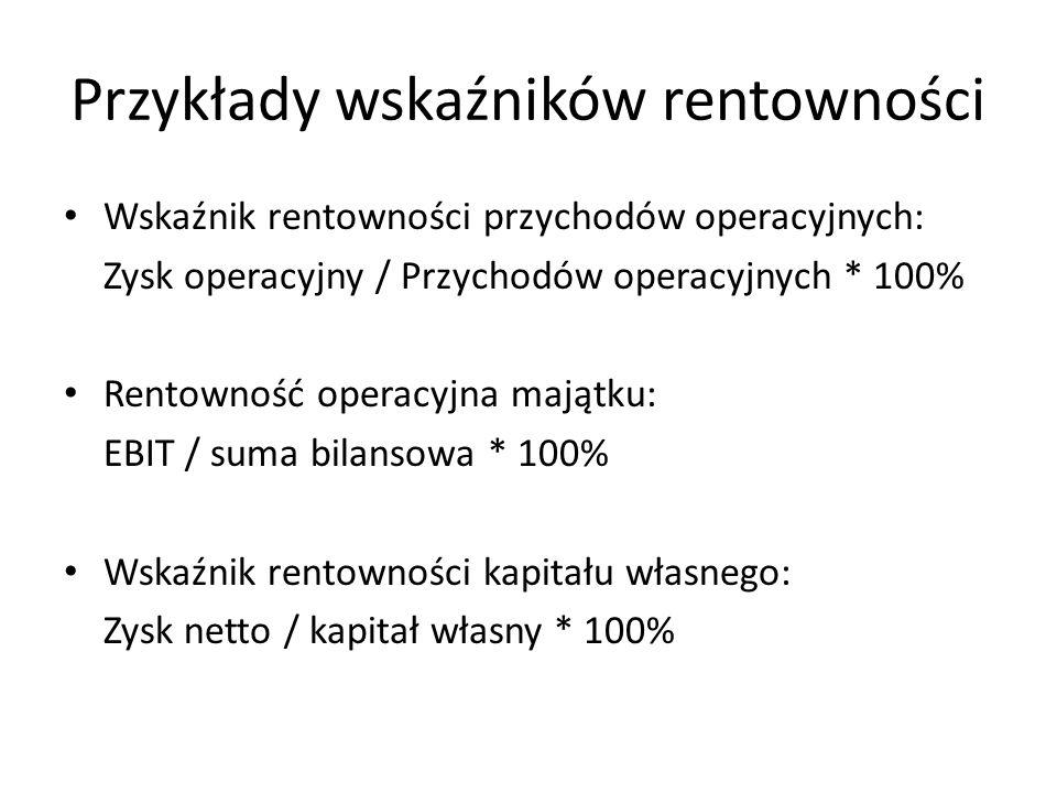 Przykłady wskaźników rentowności Wskaźnik rentowności przychodów operacyjnych: Zysk operacyjny / Przychodów operacyjnych * 100% Rentowność operacyjna