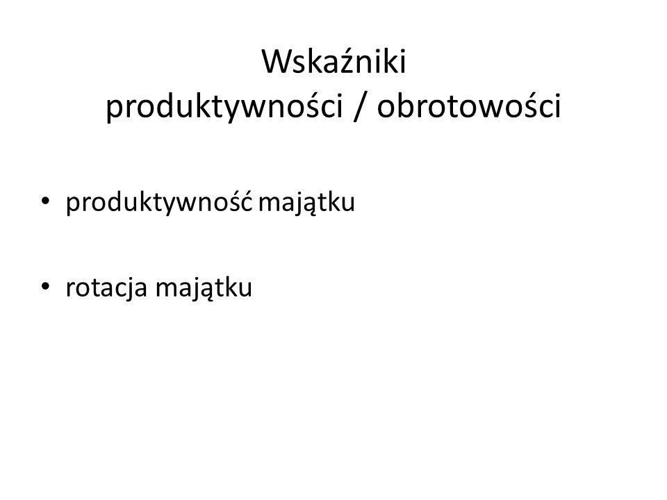 Wskaźniki produktywności / obrotowości produktywność majątku rotacja majątku