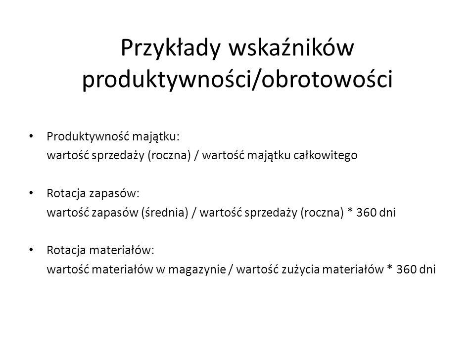 Przykłady wskaźników produktywności/obrotowości Produktywność majątku: wartość sprzedaży (roczna) / wartość majątku całkowitego Rotacja zapasów: warto